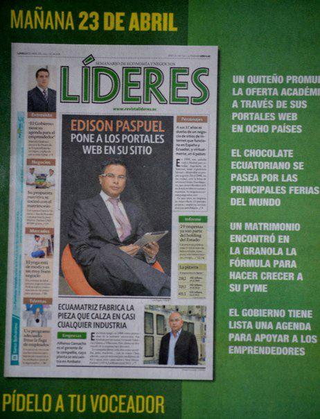 Edison Paspuel Portada REVISTA LIDERES